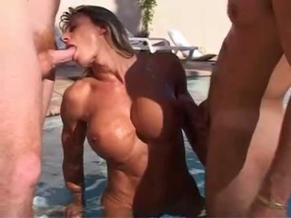 Blowjob Brunette French Handjob MILF Muscled Pool Threesome