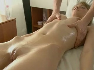 Blonde Massage Oiled Pussy Shaved Skinny