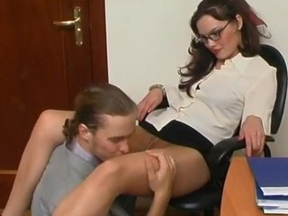 Brunette Cute Glasses Licking Pantyhose Teen