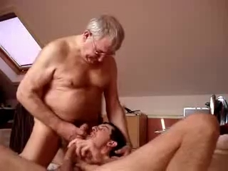 older man cums in the face