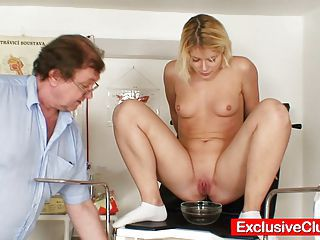 Deviated Gyno Doctor Checks Blond Babe While She Pees