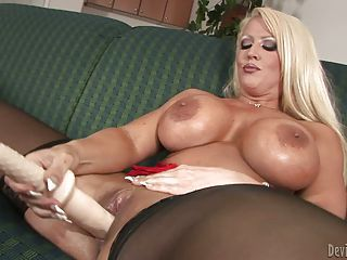 Blonde Alura Jenson With Monster Tits Gives A Close-up View Of Her Sha...
