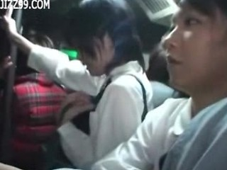 Amateur Asian Bus Public Student Teen