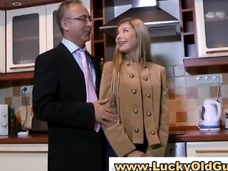 European Babe Plays With Her Pussy As Old Man Watches
