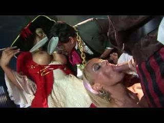 British blonde slut in a FFFMM scene with pirates