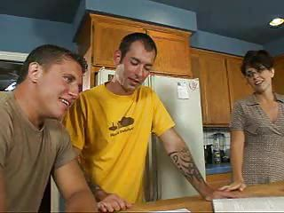 Horny Mother Fucked On Kitchen T...