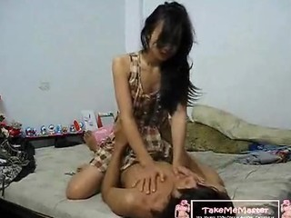 Asian Teen Rides Her Bf Cock