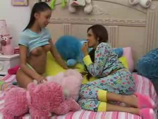 Hot Teens Give Babysitter A Blow...