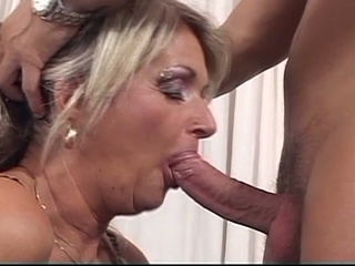 Blonde Grandma Whore Loves Young...