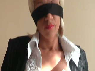 Blindfolded Blonde In Hose On Chair Receives To Engulf Hard Rod
