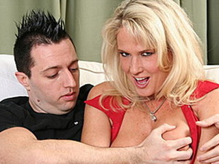 Blonde sexpot rides her stepson's large rod