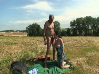 Horny Grandpa Helped Sexy Brunette Babe Then Fucked Outdoors
