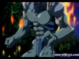 Big Boobed Hentai Warrior Fight With Monster