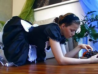 Brunette Cute Maid Teen Uniform