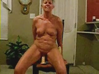 Nasty Older Woman Riding Dildo