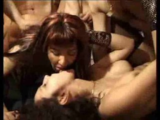 Gangbang and cum fest for a couple of sluts
