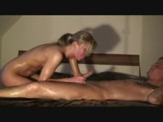 Sexy blonde slut riding on a big white dick