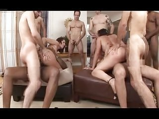 Double Penetration Orgy -Two Bitches vs Countless Cocks