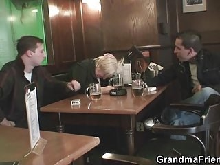 Drunk mature fucking with two guys