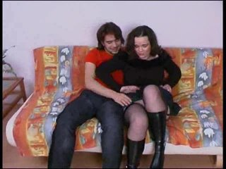 Boots and stockings on fuck slut