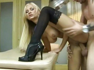 Busty blonde doctor shags in sexy stockings