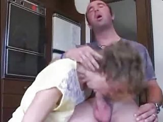 Exceedingly hot and ugly mom and her lady kitchenfuck