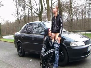 Amateur Blowjob Brunette German Latex MILF Outdoor