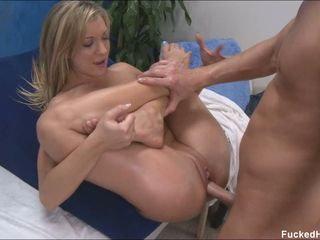 Amy Brooke gets all over than a massage when the masseur slams her with meat
