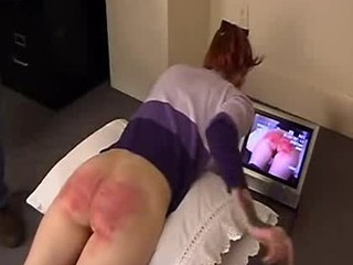 She is watching her own caning