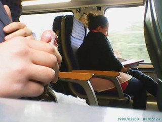Cumshot in Train