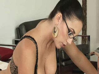 Amazing Brunette Cute Glasses Hairy Lingerie MILF