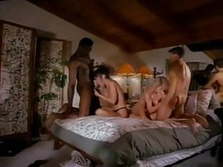 Interracial foursome from the 80s