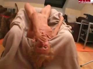 Skinny blonde granny gets fuc...