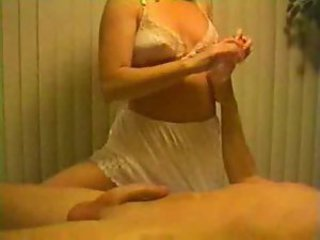 Blonde in white panties gives handjob
