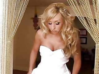 Bride with respect to white spectacular white dress gets pounded
