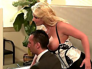 Busty Blonde Office Floozy Phoenix Marie Gives Blowjob and Gets Fucked