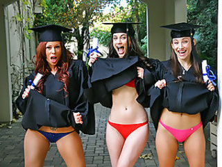 Celeste, Georgia and Brooklyn graduated college today so they decided to go back home and celebrate. Once they arrived, Celeste immediately found out that Brooklyn was hiding a nice set of huge beautiful boobs underneath her gown. The girls double teamed