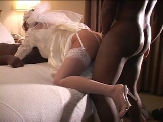 Cuckold wedding night with a handful of black cocks