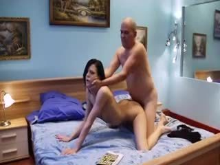 Skinny young girl with hard cock...