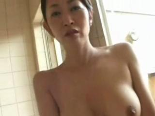 Muted Asian Milf Mom Fucked Wide of Younger Guy In Bathroom