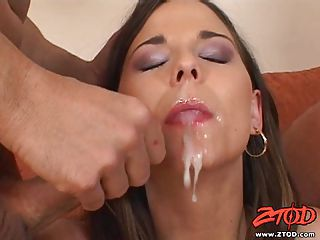 Simony Diamond Takes A Big, Hot Cum Load Into Her Pretty, Waiting Mout...