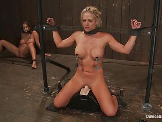 Hot Blond Getting Her Nipples Clamped And Riding A Sex Machine