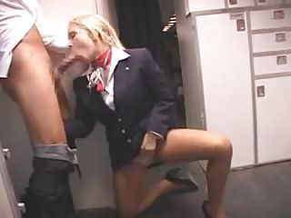 Stewardess And Japanese Guys Fuck On Plane