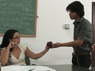 Flirtatious Asian Teacher Lucky...