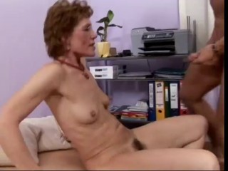 Granny gets rammed wide of a young cock