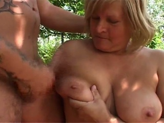Blonde Mature Fucked Hard In The Forest