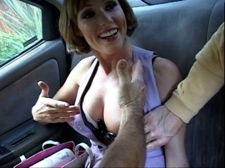 Big Tits Car MILF Pornstar Threesome