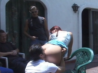Redhead Innocent Teen Outdoor Gangbang