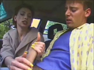 Milf gives HJ in car then 2 cocks cum ob a beauty