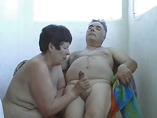 Mature Wife Wanking Husband Outside